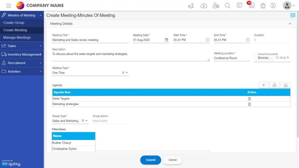 Meeting Management solution - create meeting