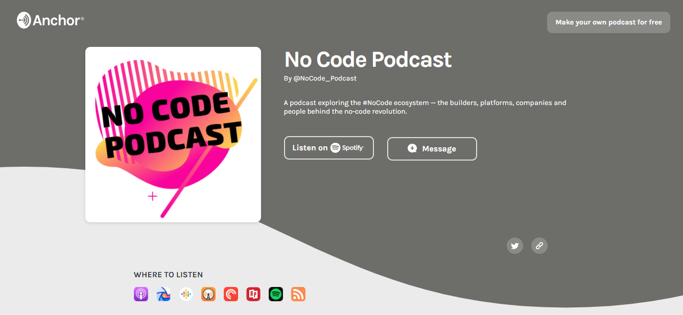 Anchor no-code podcast