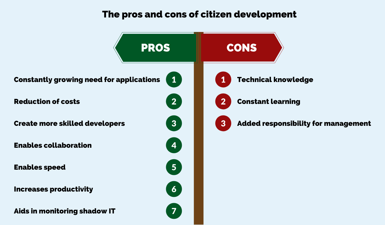 pros and cons of citizen development