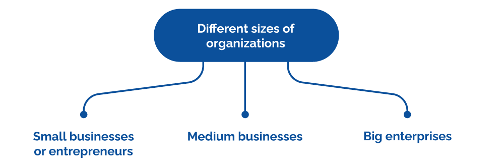 different sizes of organizations