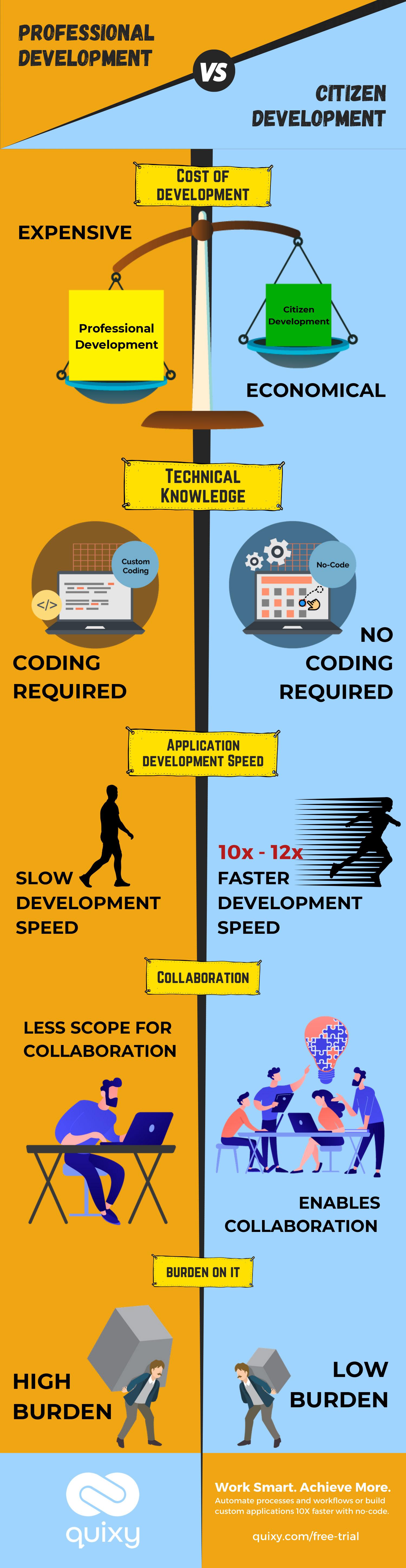 Professional development vs citizen development Infographic